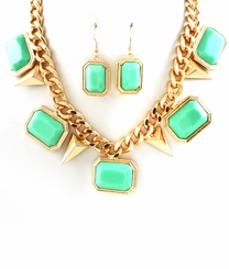 Women's Gold Tone Curb Mint Charm and Spike Necklace and Earring Set