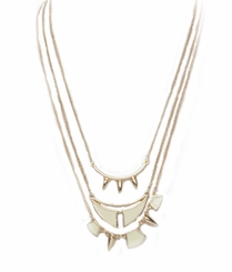 Women's Gold Tone Ivory Triple Pendant Necklace