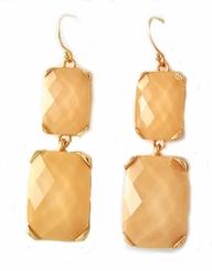 Women's Gold Tone Light Brown Dangle Earrings