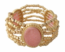 Women's Gold Tone Matte Bead Stretch Bracelet