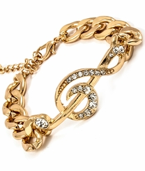 Women's Gold Tone Music Note Bracelet