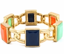 Women's Gold Tone Rectangular Link Enamel Bracelet Multicolor