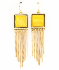 Women's Gold Tone Square Enamel Tassle Earrings - Yellow