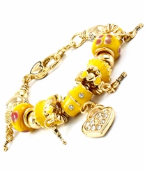 Women's  Gold Tone Yellow Enamel Heart Charm Bracelet