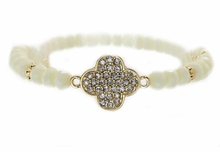 Women's Ivory Color Crystal Clover Acrylic Bead Stretch Bracelet