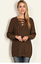 Women's Lace Up Tunic Sweater - Olive