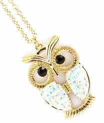 Women's Long Crystal Owl Pendant Necklace