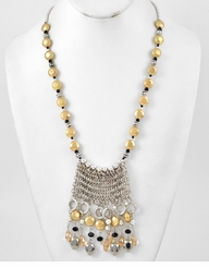 Women's Long Necklace : Hematite and Topaz Beaded