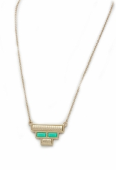 Women's Matte Gold Green Upside Down Pyramid Blocks Necklace