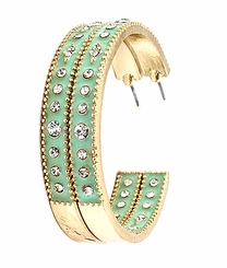 Women's Mint Clear Crystal Hoop Earrings