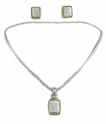 Women's Paved Crystal Rectangle w/Rope Design Necklace/Earring Set