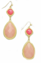 Women's Peach Rose Dangle Earrings