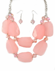 Women's Pink  Acrylic Necklace and Earring Set