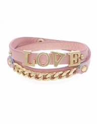 Women's Pink Leather Love Gold Chain Wrap Bracelet