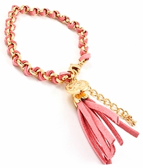 Women's Pink Leatherette and Gold Wrap Tassel Chain Bracelet