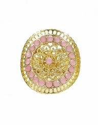 Women's Pink Round Filigree Gold Stretch Ring