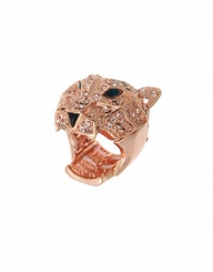 Women's Rose Gold Crystal Tiger Stretch Ring