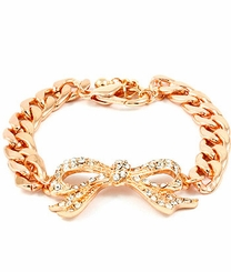 Women's Rose Gold Tone Crystal Bow Bracelet