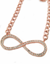 Women's Rose Gold Tone Infinity Necklace with Rhinestones