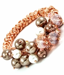 Women's Rose Gold Tone Stretch Glass Bead Bracelet  out of stock