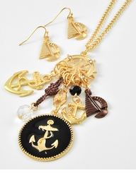 Women's Sea Life Jewelry : Gold Sailboat Charm Necklace and Earring - SOLD OUT