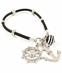 Women's Silver and Black Anchor Charm Bracelet  out of stock