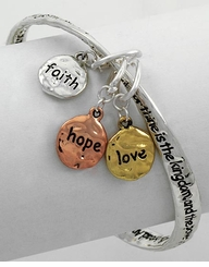 Women's Silver Bracelet -  Faith Hope and Love Prayer Bracelet