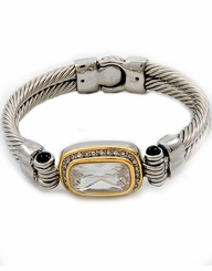 Women's Silver Gold Two Tone Cubic Zirconia Magnetic Bracelet