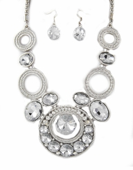 Women's Silver Tone and Rhinestone Special Occasion Necklace and Earring Set