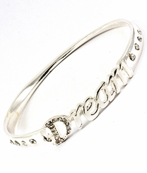 "Women's Silver Tone ""Dream"" Bangle  Bracelet"