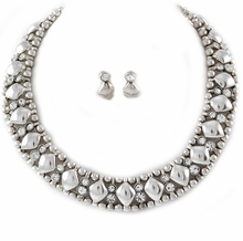 Women's Silver Tone Geometric Bead Necklace and Earring Set