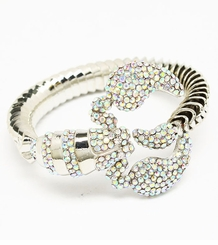 Women's Silver Tone Scorpion Bangle with Aurora Beaurealis Crystals