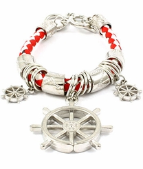 Women's Silver Tone Ship Wheel Toggle Bracelet - Red