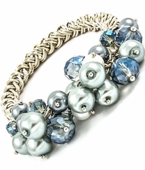Women's Silver Tone Stretch Glass Bead Bracelet