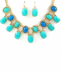 Women's Teal Necklace and Earring Set