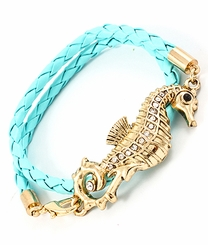 Women's Turquoise and Gold Seahorse Cord Wrap Bracelet  OUT OF STOCK