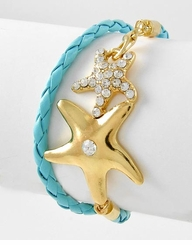 Women's Turquoise and Gold Wrap Starfish Bracelet - SOLD OUT
