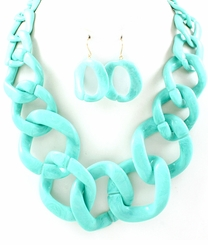 Women's Turquoise Aqua Acrylic Chain Link Necklace and Earring Set