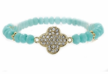Women's Turquoise Color Crystal Clover Acrylic Bead Stretch Bracelet
