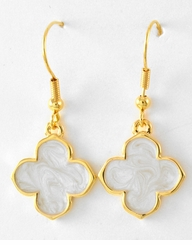 Women's White Clover Drop Earrings