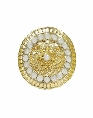 Women's White Round Filigree Gold Ring Stretch