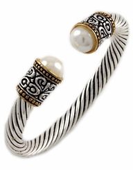 Women's White Synthetic Pearl Cuff Bracelet