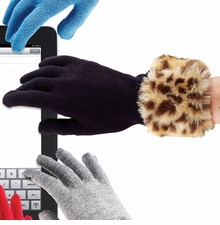 Womens Black Faux Fur Smart Gloves - Choose Color