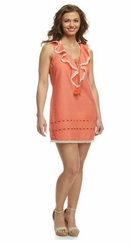 Womens Dress Ruffle Neck Coral Coverup