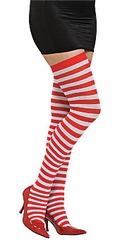 Womens Red and White Striped Tights