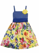 Woven Dot Print Bodice with Floral Print Skirt Spring Dress