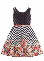 Woven Dot Print Bodice Chevron with Floral Print Skirt Spring Dress
