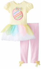 Yellow Bodice Egg Applique Tutu Legging Set - SALE