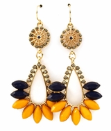 Yellow Marquise Shape Drop Earrings : Women's Fashion Earrings