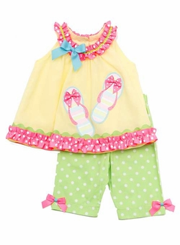Yellow Top With Sandal Applique and Green Dot Legging Set